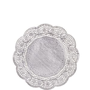 Silver Round Paper Doilies 6ct