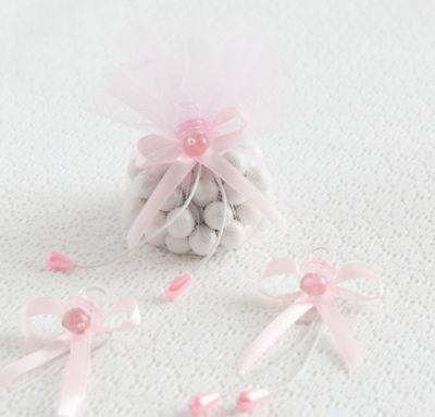 Pink Pacifier Baby Shower Favor Ties 6ct