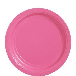 Bright Pink Paper Lunch Plates 20ct