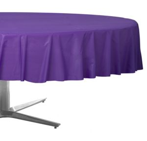 Purple Plastic Round Table Cover