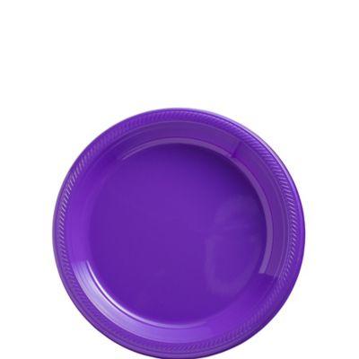 Purple Plastic Dessert Plates 20ct