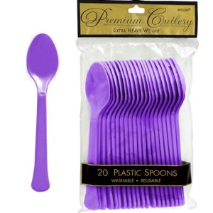 Purple Premium Plastic Spoons 20ct
