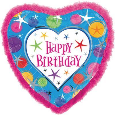 Happy Birthday Balloon - Boa Heart