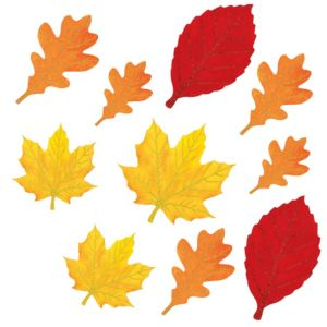 Glitter Autumn Leaves Cutouts 10ct