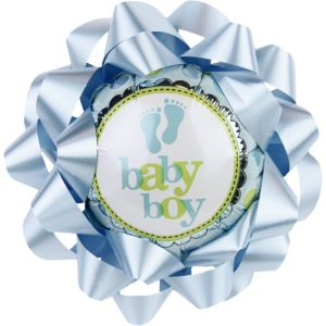 Baby Boy Balloon Gift Bow