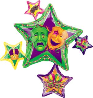 Foil Stars Mardi Gras Balloon 35in