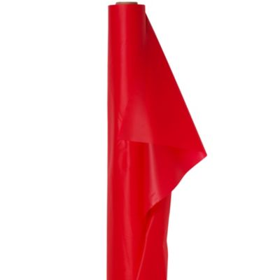 Extra-Long Red Plastic Table Cover Roll