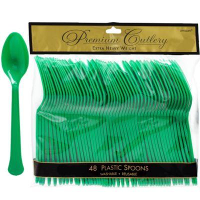 Festive Green Premium Plastic Spoons 48ct