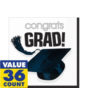 Congrats Grad White Graduation Lunch Napkins 36ct