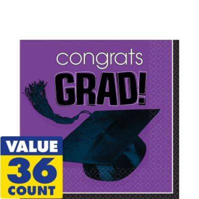 Congrats Grad Purple Graduation Lunch Napkins 36ct