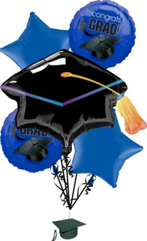 Royal Blue Graduation Balloon Bouquet 6pc