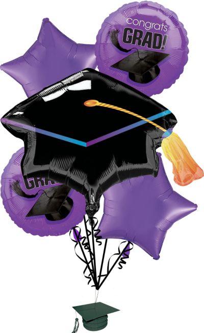 Purple Graduation Balloon Bouquet 6pc