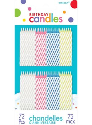 Multicolor Bright Spiral Birthday Candles 72ct