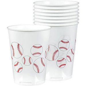 Plastic Baseball Fan Cups 8ct