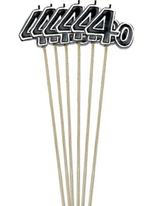 Black Number 40 Birthday Toothpick Candles 6ct