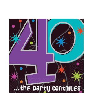 The Party Continues 40th Birthday Lunch Napkins 16ct