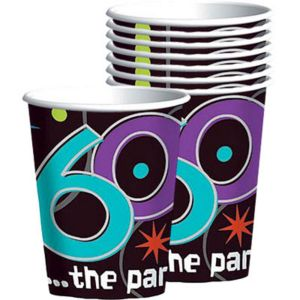 The Party Continues 60th Birthday Cups 8ct