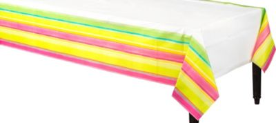 Pink Sunny Stripe 54in x 102in Paper Table Cover