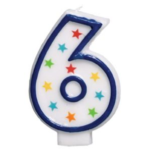Glitter Blue Outline Number 6 Candle