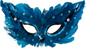 Blue Sequin Feather Masquerade Mask
