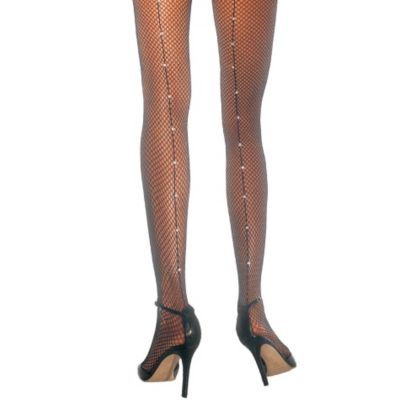 Adult Black Fishnet Pantyhose with Rhinestone Seam