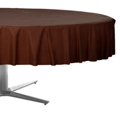Chocolate Brown Plastic Round Table Cover