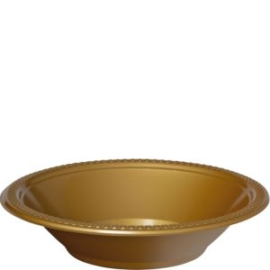Gold Plastic Bowls 20ct