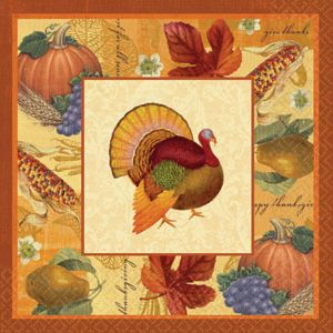 Thanksgiving Scrapbook Dinner Napkins 16ct