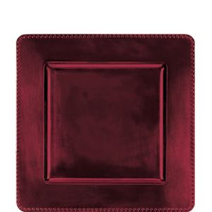 Burgundy Metallic Square Plastic Charger