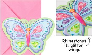 Fluttering Butterfly Jumbo Invitations 8ct
