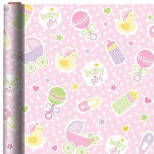 Jumbo Baby Girl Pink Gift Wrap