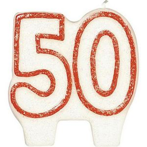 Glitter Red Outline Number 50 Birthday Candle