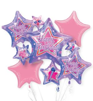 Happy Birthday Balloon Bouquet 5pc - Purple Star Cluster