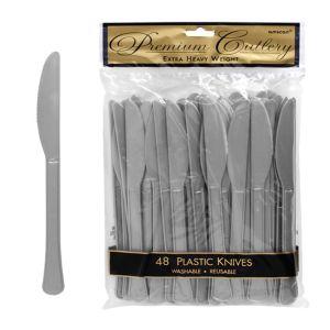 Silver Premium Plastic Knives 48ct