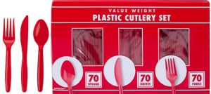Big Party Pack Red Plastic Cutlery Set 210ct