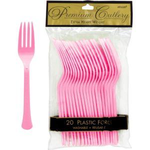Pink Premium Plastic Forks 20ct