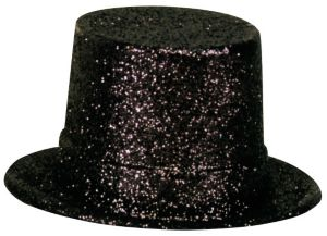 Glitter Black Top Hat