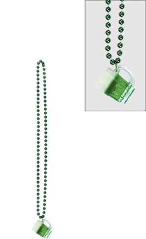 St. Patrick's Day Frothy Beer Mug Bead Necklace