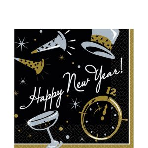 Black Tie New Year's Lunch Napkins 100ct
