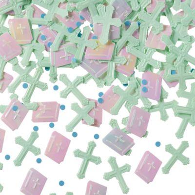 Blue Radiant Cross Religious Confetti