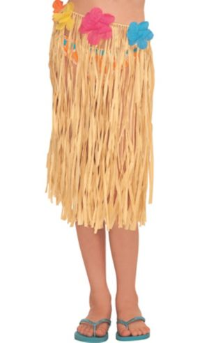 Child Raffia Hula Skirt With Flowers 20in Party City