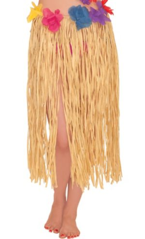 Adult Raffia Hula Skirt with Flowers