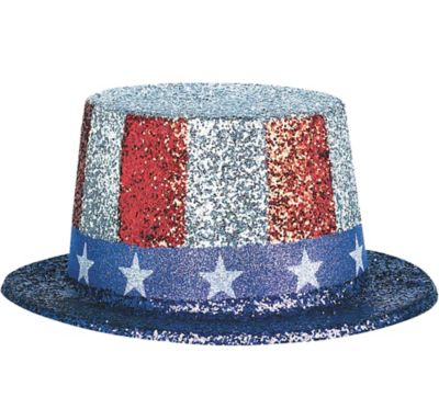 Glitter Patriotic Top Hat