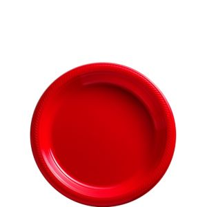 Red Plastic Dessert Plates 50ct