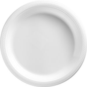 Big Party Pack White Plastic Dinner Plates 50ct