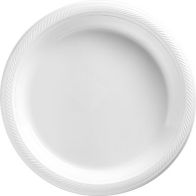 White Plastic Dinner Plates 50ct