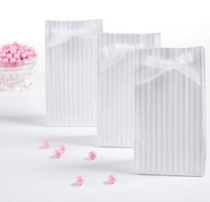 White Shadow Stripe Tent Favor Bags