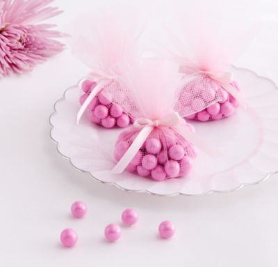 Pink Tulle Baby Shower Favor Circles 24ct