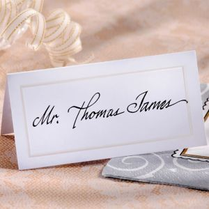 White Pearlized Border Place Cards 50ct