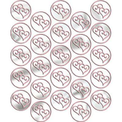 Pink Heart Metallic Envelope Seals 25ct